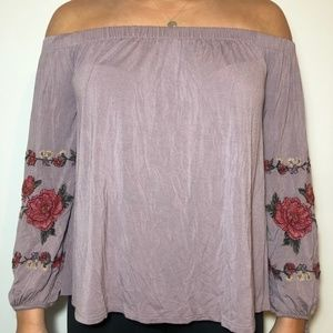 American Eagle Off The Shoulder Long Sleeve Shirt
